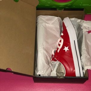 NWT Red Leather One Star Converse